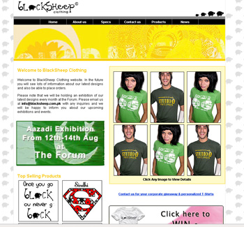 Black Sheep T Shirts Web Design