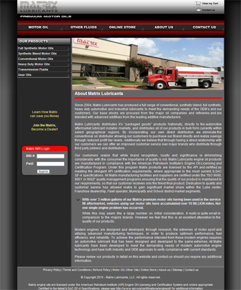Matrix Lubricants Web Design
