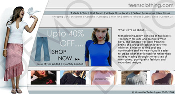 Teens Clothing Web Design