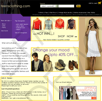 Teen Clothing Web Design